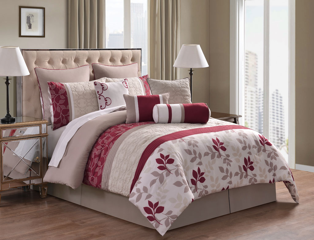 10 Piece Eve Red and Taupe Reversible Comforter Set