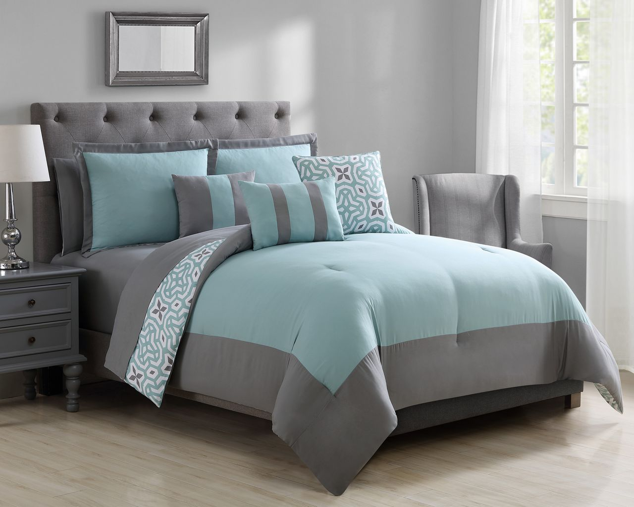 grey bed in a bag sets 10 glenda mint gray bed in a bag