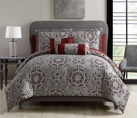 10 Piece Karla Taupe/Red Comforter Set