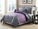 10 Piece King Ambiance Purple and Gray Rerversible Bed in a Bag w/600TC Cotton Sheet Set