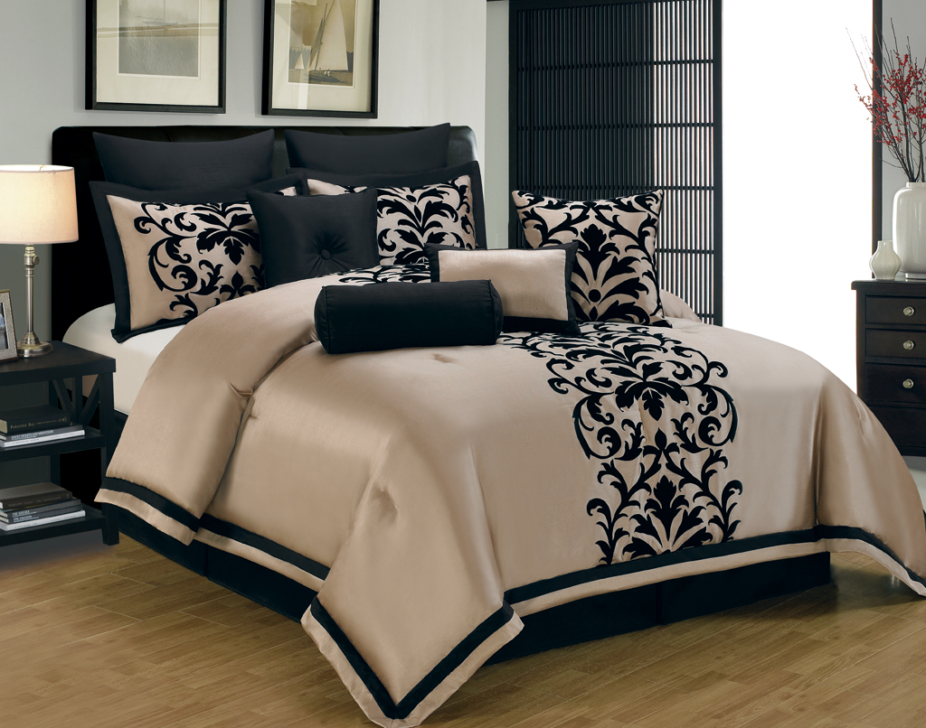 Classic stripes on the Valencia Comforter Set from Highline Bedding Co. give a contemporary twist with distressed textures and a chic color palette of gold, black, blue and grey. The comforter reverses to a .