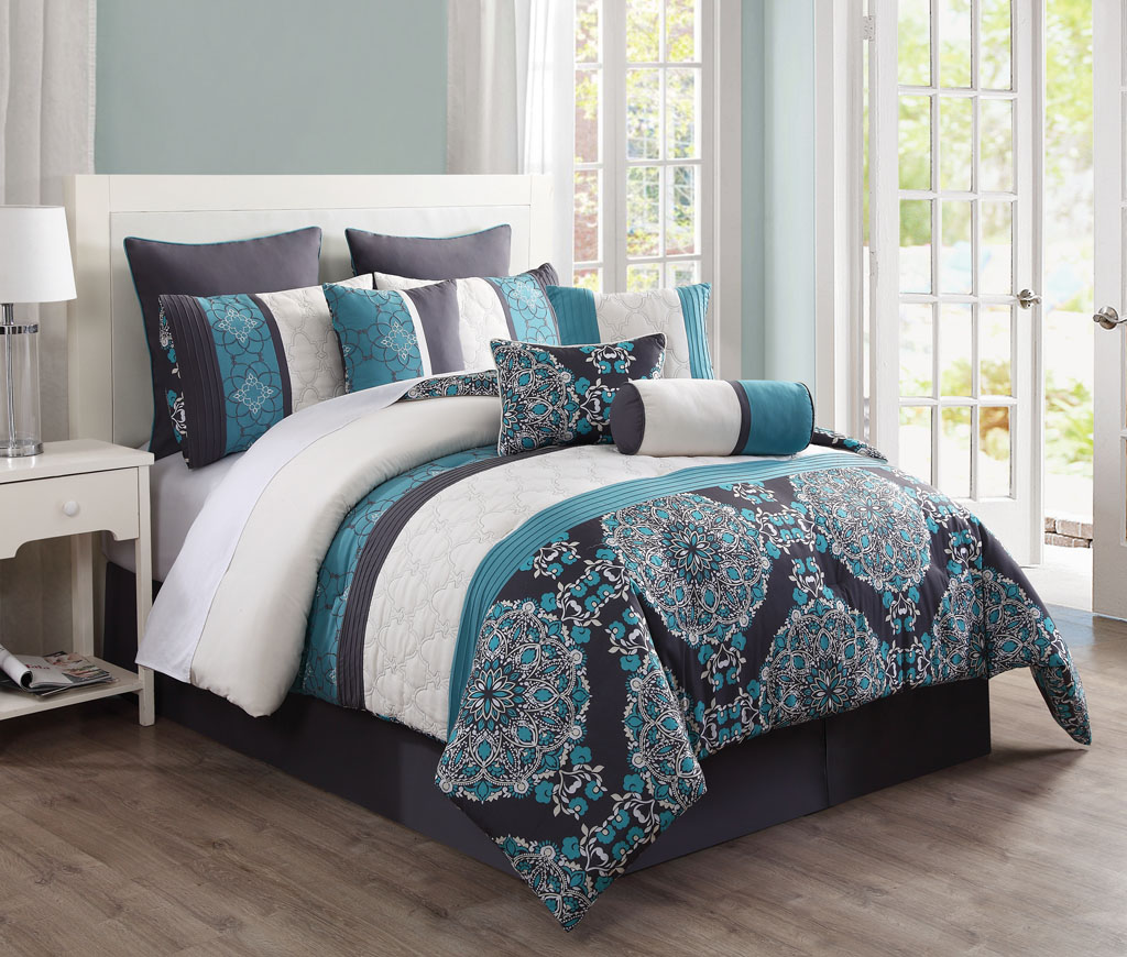 with lamp on interior floor wooden bedding added blue brown striped table set bedroom size cream aqua carpet curtains teal combined king for and color romantic sets white luxurious comforter