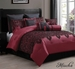 10 Piece King Mischa Black and Burgundy Comforter Set