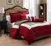 10 Piece King Tranquil Red and Taupe Bed in a Bag w/500TC Cotton Sheet Set