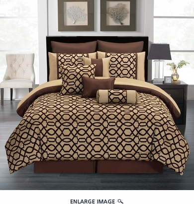 10 Piece King Venturi Coffee and Tan Comforter Set