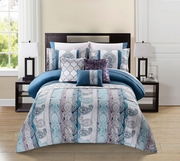 10 Piece Meryanne Teal/Gray/Plum Comforter Set w/ Sheets