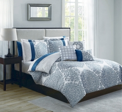 10 Piece Mira Blue/Ivory Comforter Set