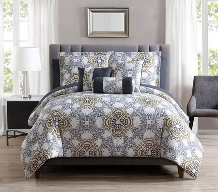 10 Piece Olena Gray/Gold/White Comforter Set w/ Sheets
