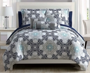 10 Piece Olena Navy/Teal/White Comforter Set w/ Sheets