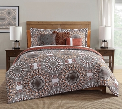 10 Piece Phoebe Brown/Orange Comforter Set w/ Sheets