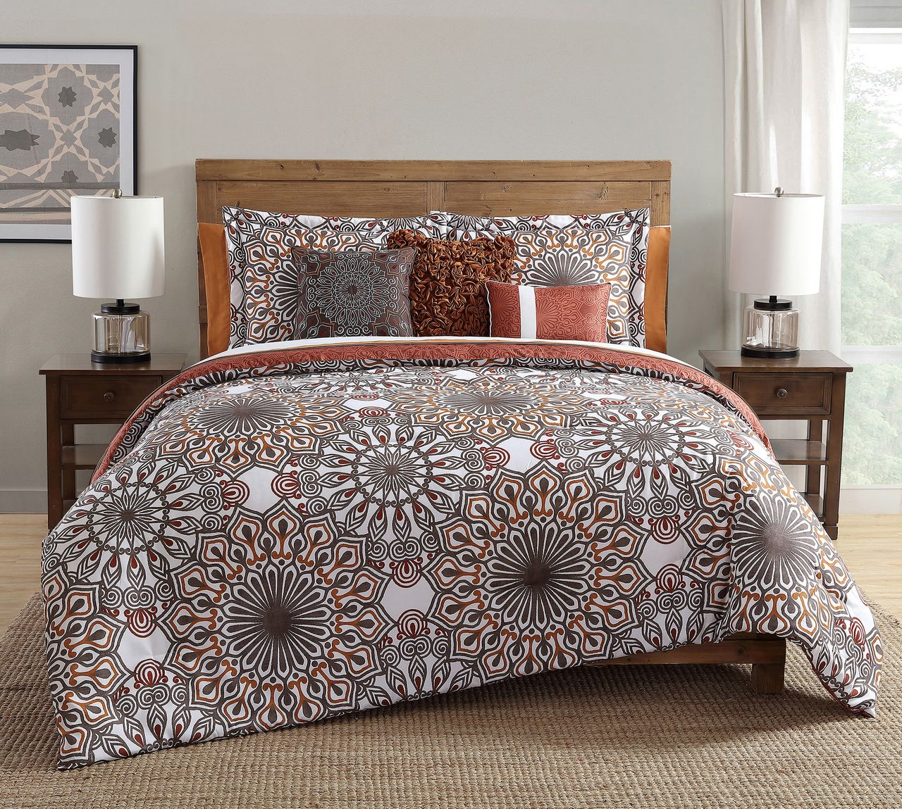 Brown and orange bedding - 10 Piece Phoebe Brown Orange Comforter Set W Sheets Queen