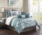 10 Piece Queen Adeline Aqua/Gray Comforter Set