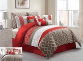 10 Piece Queen Amarta Coral and Taupe Reversible Comforter Set