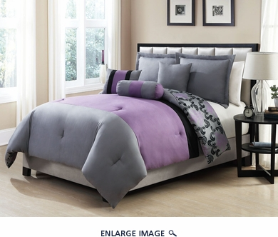 10 Piece Queen Ambiance Purple and Gray Rerversible Bed in a Bag w/600TC Cotton Sheet Set