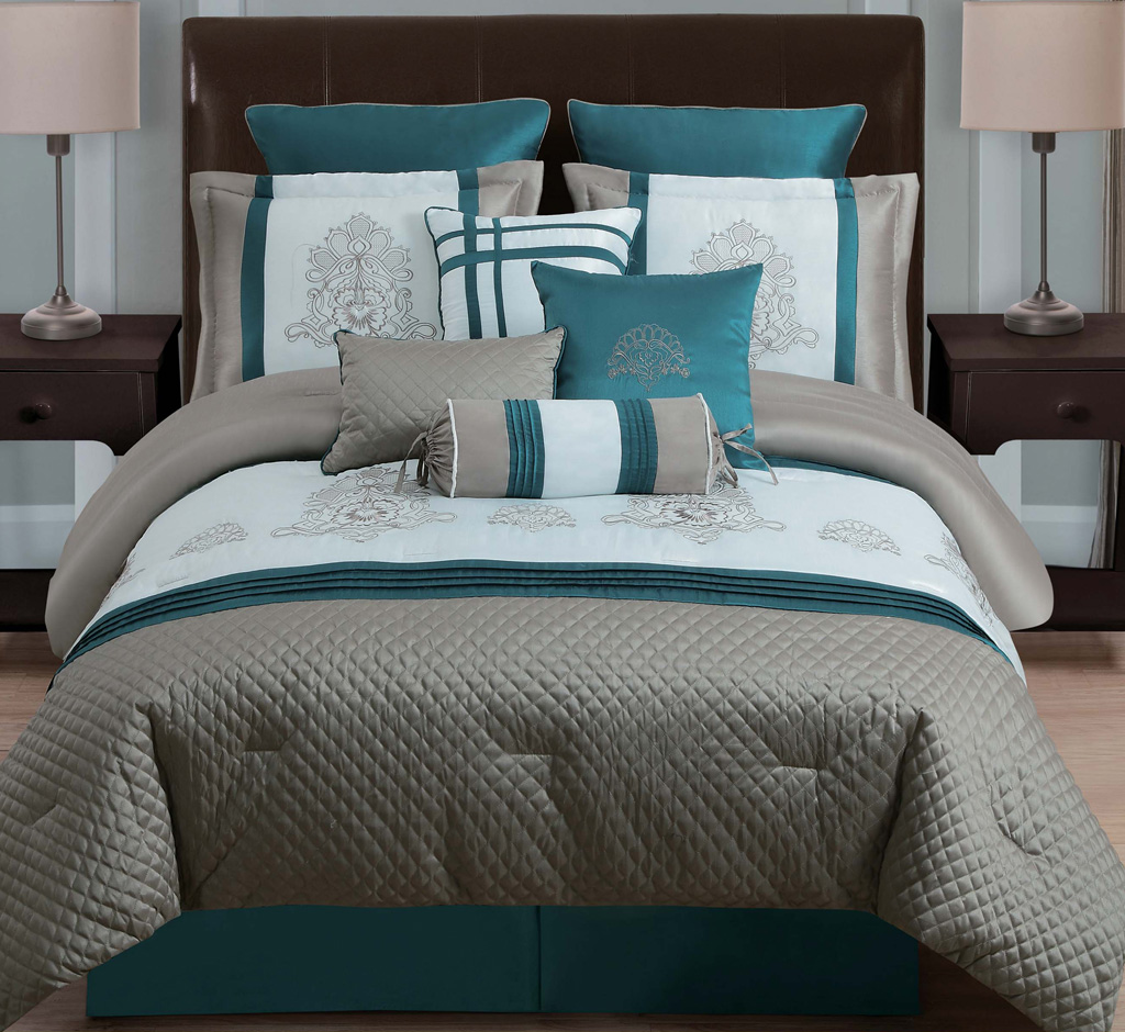 10 Piece Queen Avalon Taupe Teal Ivory Comforter Set