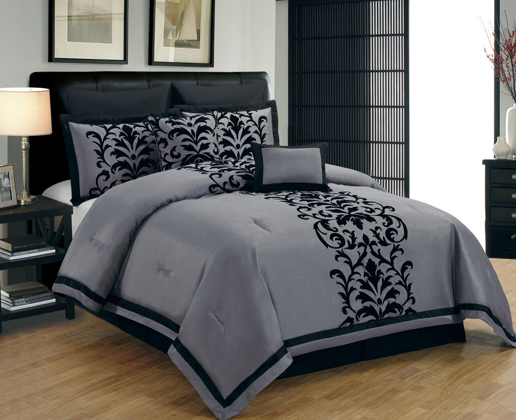 10 piece queen dawson black and gray comforter set
