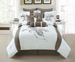 10 Piece Queen Diore Taupe/White Comforter Set