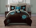 10 Piece Queen Josephine Chocolate and Teal Comforter Set