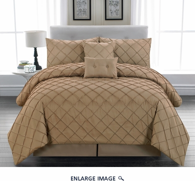 10 Piece Queen Melia Taupe Bed in a Bag w/500TC Sheet Set