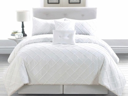 10 Piece Queen Melia White Bed in a Bag w/600TC Sheet Set