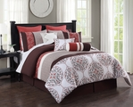 10 Piece Queen Melody Spice/Chocolate/Ivory Reversible Comforter Set