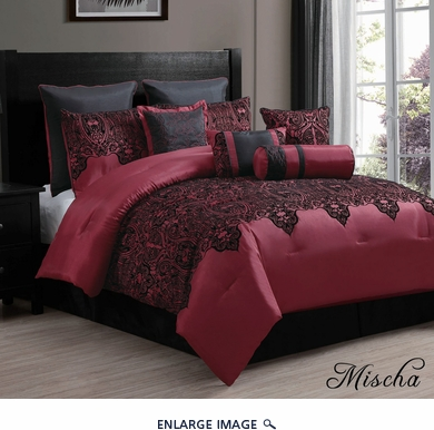 10 Piece Queen Mischa Black and Burgundy Comforter Set