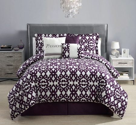 10 Piece Queen Passion Print Bed in a Bag w/600TC Cotton Sheet Set