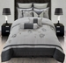 10 Piece Queen Rosalind Grey Embroidered Comforter Set