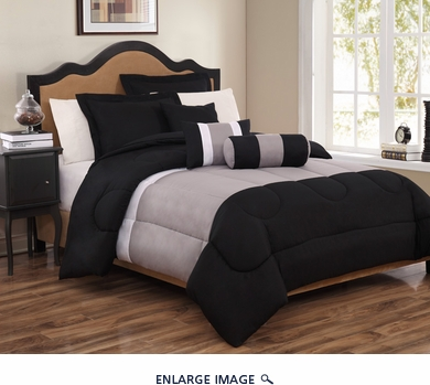 10 Piece Queen Tranquil Black and Gray Bed in a Bag Set