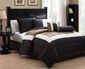 10 Piece Queen Tranquil Black and Taupe Bed in a Bag w/500TC Cotton Sheet Set