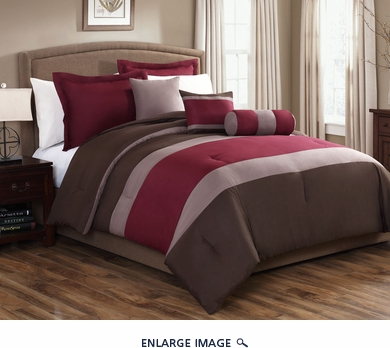 10 Piece Queen Tranquil Burgundy and Chocolate Bed in a Bag Set