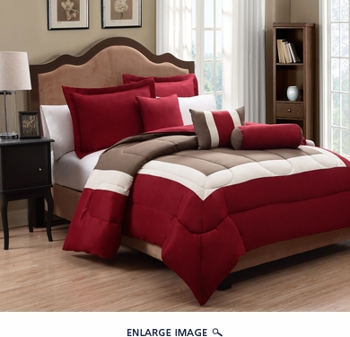 10 Piece Queen Tranquil Red and Taupe Bed in a Bag w/500TC Cotton Sheet Set