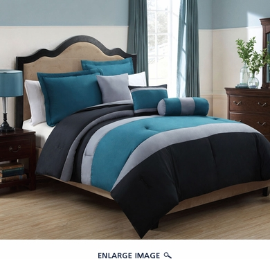 10 Piece Queen Tranquil Teal and Gray Bed in a Bag w/600TC Cotton Sheet Set