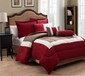 10 Piece King Tranquil Red and Taupe Bed in a Bag Set