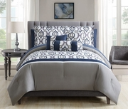 10 Piece Trinity Navy/Taupe/White Comforter Set w/ Sheets