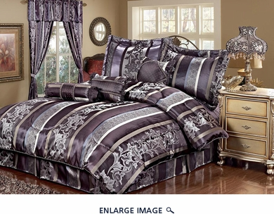 11 Piece Cal King Amethyst Jacquard Bed in a Bag Set Purple