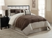 11 Piece Cal King City Loft Brown and Beige Micro Suede  Bed in a Bag w/600TC Sheet Set