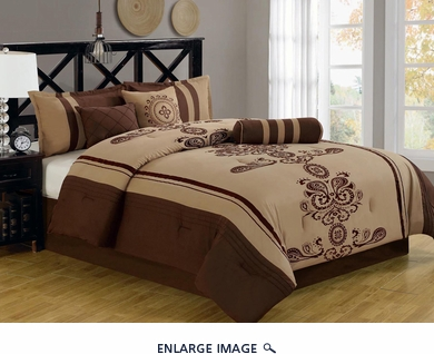 11 Piece Cal King Coffee and Taupe Embroidered Bed in a Bag Set