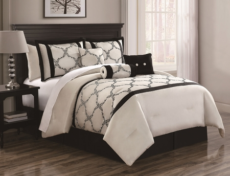 11 Piece Cal King Gracie Ivory and Black Bed in a Bag Set