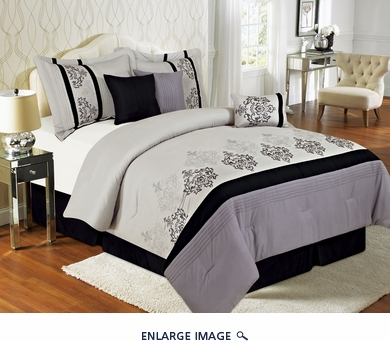 11 Piece Cal King Herstal Black and Gray Bed in a Bag Set