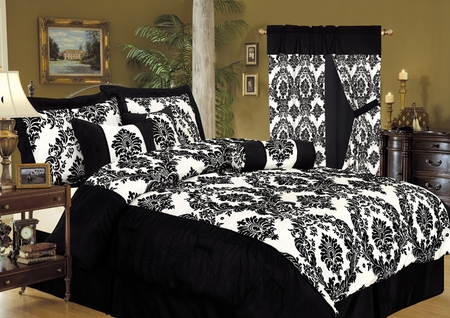 11 Piece Cal King Louisa Flocking Black Bed in a Bag Set