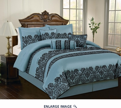 11 Piece Cal King Madelyn Blue Bed in a Bag Set
