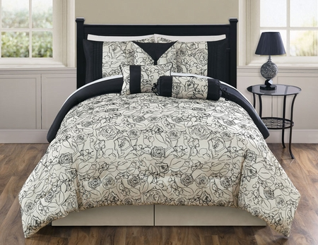 11 Piece Cal King Miranda Black and Ivory Bed in a Bag Set
