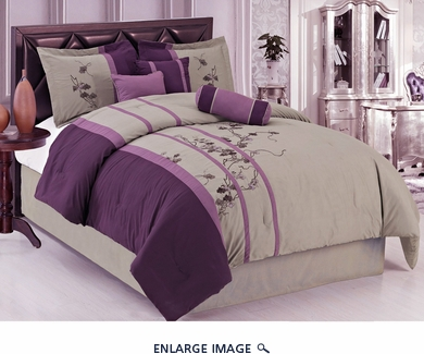 11 Piece Cal King Purple and Gray Embroidered Bed in a Bag Set