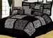 11 Piece Cal King Safari Black and White Patchwork Micro Suede Bed in a Bag w/600TC Sheet Set