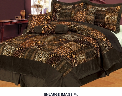 11 Piece Cal King Safari Brown Patchwork Micro Suede Bed in a Bag Set