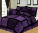 11 Piece Cal King Safari Purple and Black Patchwork Micro Suede Bed in a Bag Set