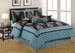 11 Piece Cal King San Marino Blue and Coffee Bed in a Bag w/500TC Sheet Set