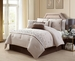 11 Piece Cal King Valpico Beige and Brown Bed in a Bag w/600TC Sheet Set