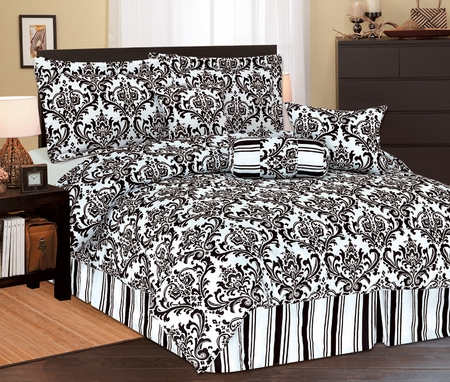 11 Piece Full Beverly Microfiber Bedding Bed in a Bag Set Black